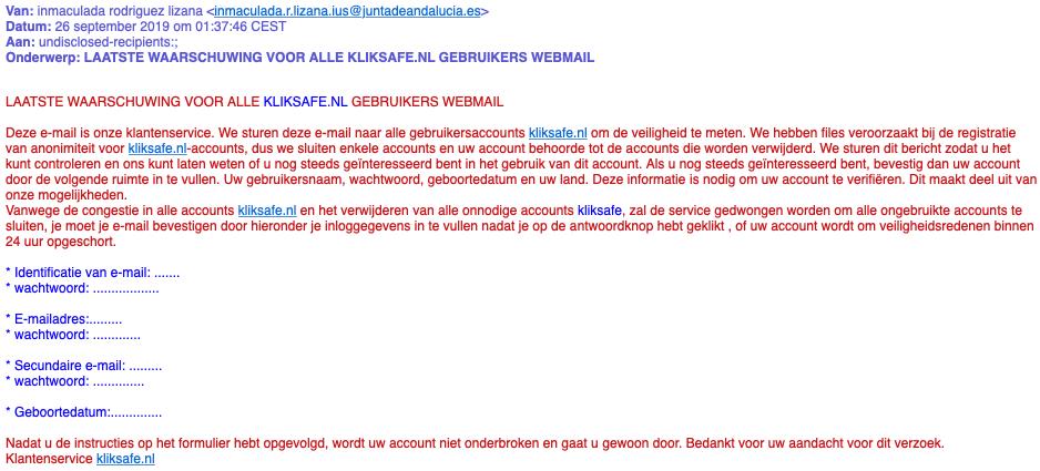 laatst waarschuwing voor alle kliksafe nl gebruikers webmail
