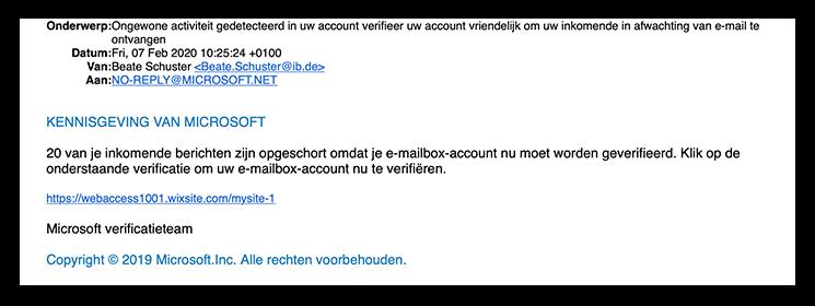 Microsoft Ongewone activiteit gedetecteerd in uw account